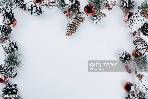 frame of beautiful christmas branches, cones - christmas stock pictures, royalty-free photos & images