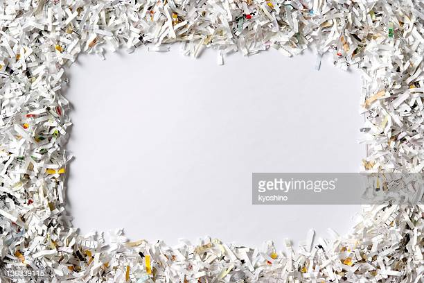 frame of the shredded paper on white background - shredded stock pictures, royalty-free photos & images