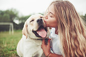 Frame with a beautiful girl with a beautiful dog in a park on green grass.