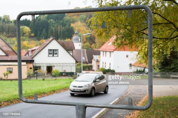 A frame with the missing town sign can be seen inBad Sachsa Germany 31 October 2016 The counties of Goettingen and Osterode am Harz are merging on...