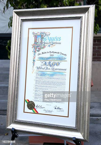 Framed award certificate at the 2nd Annual Made In Hollywood Award to crew of Oscarnominated film Argo at Warner Bros Studios on February 21 2013 in...