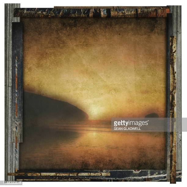 framed beach photo - damaged stock pictures, royalty-free photos & images