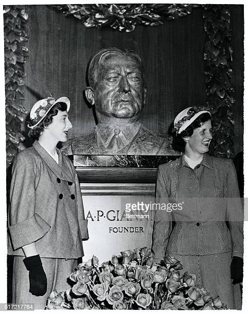 Framed by granddaughters Anne and Virginia Giannini, a bust of the late A.P. Giannini, the well-known banker, is unveiled at the main branch of the...
