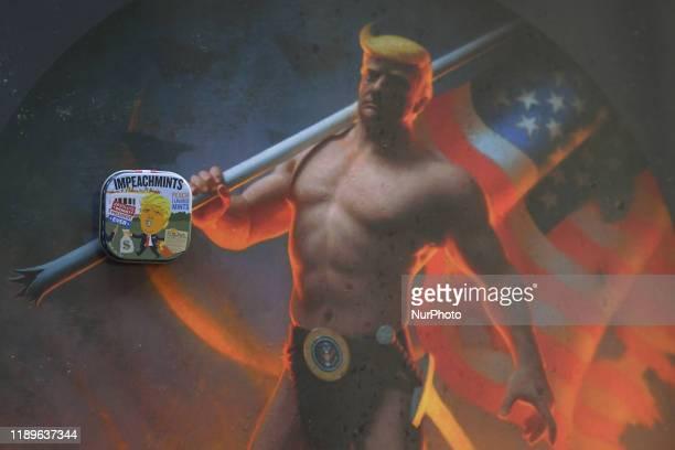 A framed digital print of the US President Donald Trump 'Novus Ordo Seclorum' by artist Conor Walton seen at Balla Bán Art Gallery in Dublin A box of...