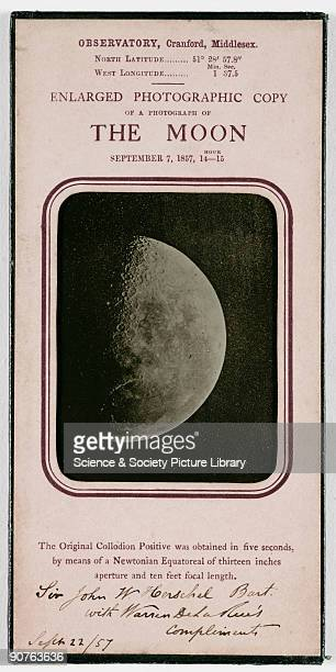 A framed enlarged photograph of the Moon taken by Warren De La Rue on 7 September 1857 The caption reads 'The Original Collodion Positive was...