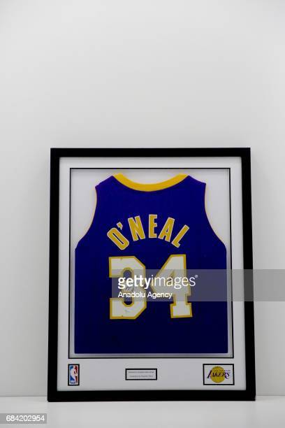 A framed Jersey of Shaquille O'Neal is being displayed during the 'NBA Fan Zone' exhibition in Istanbul Turkey on May 17 2017 Private stuff of NBA...