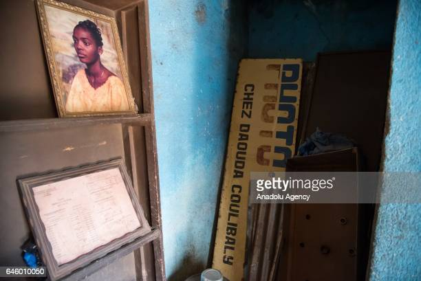 Framed old photo print is seen at Daouda Coulibaly's photo studio, which was founded in 1981, at Mamadou Konate Avenue in the Coura region of Bamako,...