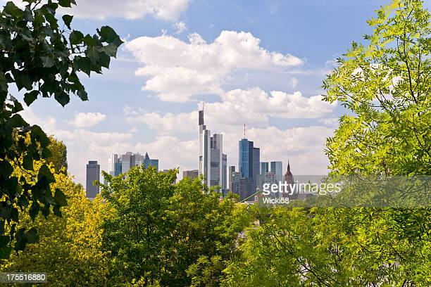 framed skyline frankfurt am main germany - west direction stock pictures, royalty-free photos & images