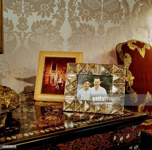 A framed snapshot Prince Jonathan Doria Pamphilj with his partner Elson Edeno Braga is photographed for Vanity Fair Magazine on April 26 2011 in the...