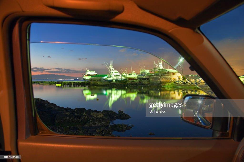 Framed Twilight View Of Illuminated Boatyard In Arasaki By