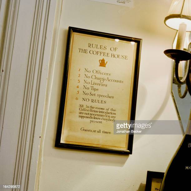 Framed version of the Coffee House rules is photographed for Vanity Fair Magazine on March 14, 2012 in New York City. PUBLISHED IMAGE.