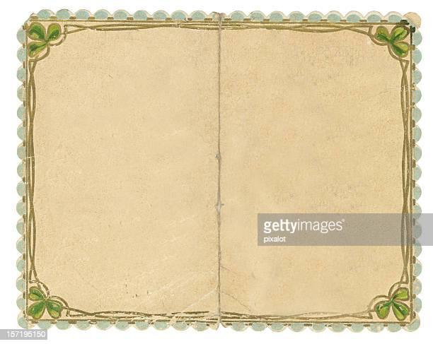 framed vintage paper (scan) - st patricks background stock pictures, royalty-free photos & images
