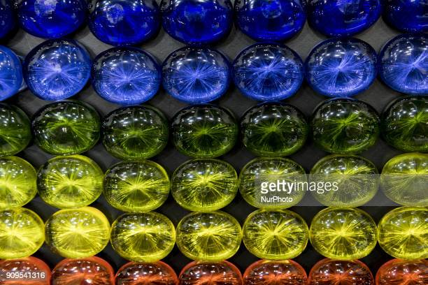 Framed weakly acidic soaps colored are shown during the Cosme Tokyo 2018, January 24, 2018 in Japan. Cosme Tokyo 2018 and the Asia's leading...