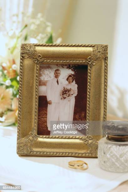 Framed Wedding Photo and Rings