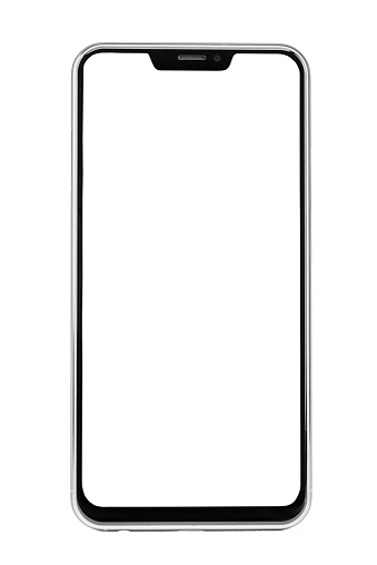 Frameless smartphone with white screen isolated on white background 1014068816