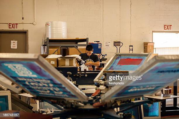 frames drying in screen printing workshop - heshphoto stock pictures, royalty-free photos & images