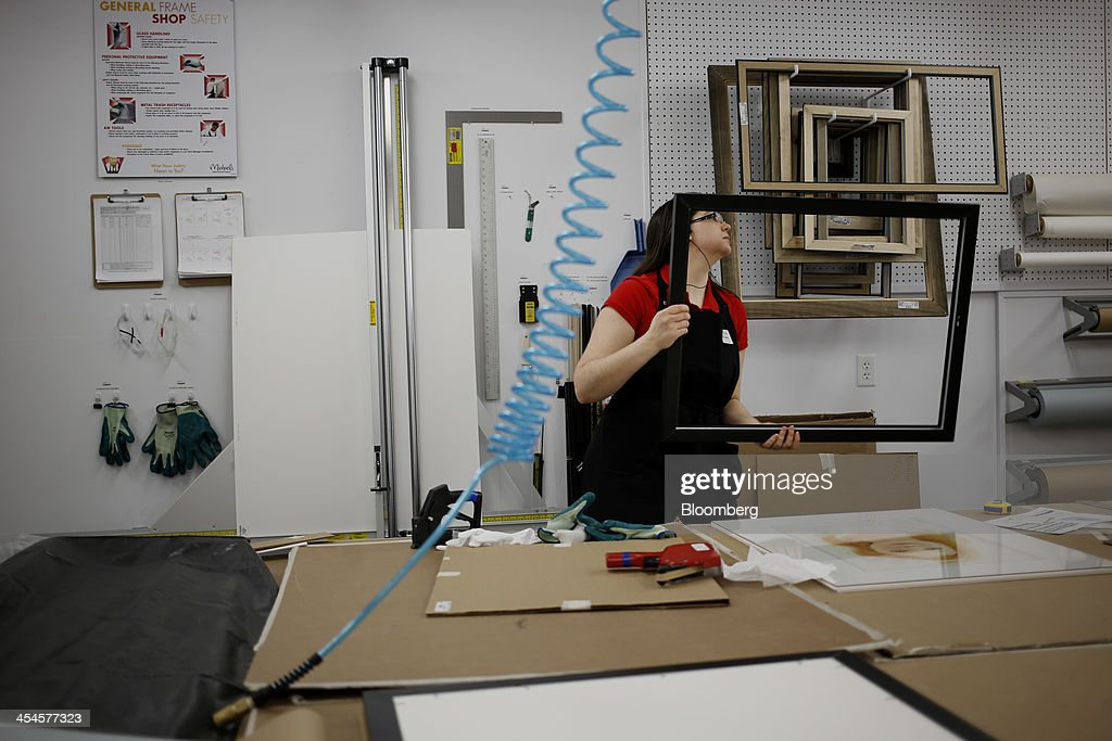 framing manager katharine ormond frames a customers order at a michaels stores inc location in - Michaels Frame Shop