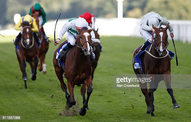 Fran Berry riding Alyssa win The Londonmetric Noel Murless Stakes from Fireglow at Ascot Racecourse on September 30 2016 in Ascot England