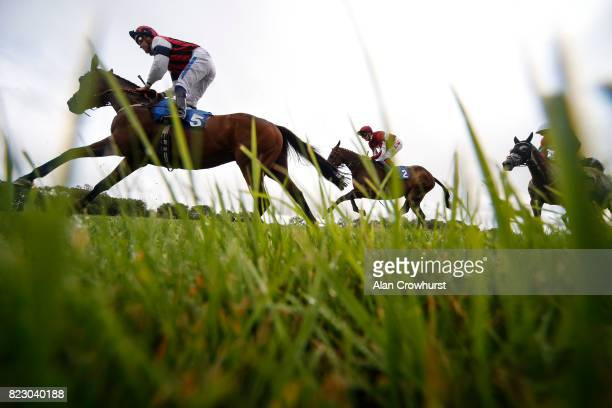 Fran Berry riding Desert Cross on their way to winning The Rainbow Casino Aberdeen Handicap Stakes at Bath racecourse on July 26 2017 in Bath England