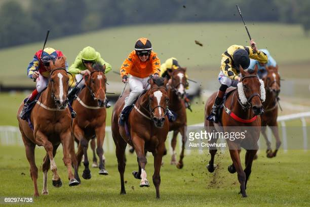Fran Berry riding Satchville Flyer win The Monmouthshire Business Awards Handicap Stakes at Chepstow racecourse on June 6 2017 in Chepstow Wales