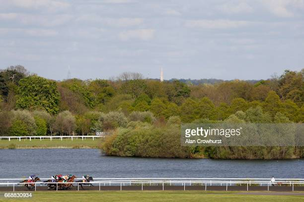 Fran Berry riding Sibilance lead down the back straight before winning The Watch RacingUK On Virgin 536 Filliesâ Conditions Stakes at Kempton Park on...