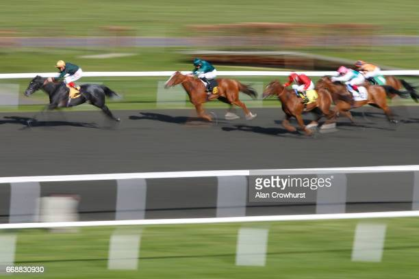 Fran Berry riding Sibilance win The Watch RacingUK On Virgin 536 Filliesâ Conditions Stakes at Kempton Park on April 15 2017 in Sunbury England