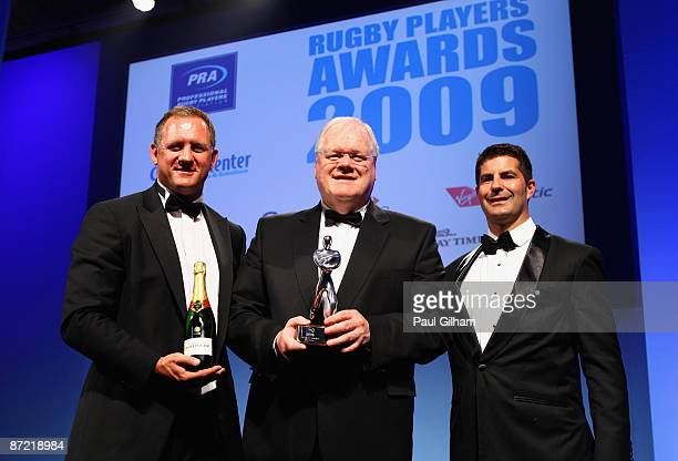 Fran Cotton is presented with the HSBC Hall of Fame Induction Award by Richard Hill and Mark Pannes during the PRA Rugby Players Awards held at the...
