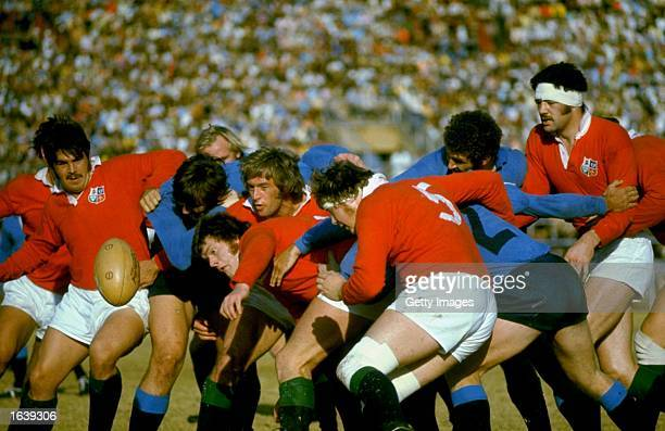 Fran Cotton of the British Lions releases the ball from the ruck during the Rugby Lions tour of South Africa South Africa Mandatory Credit Allsport...