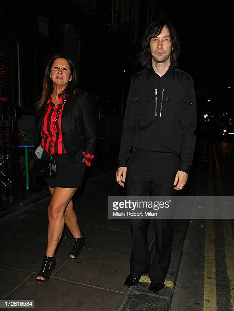 Fran Cutler and Bobby Gillespie leaving the Groucho club on July 4 2013 in London England