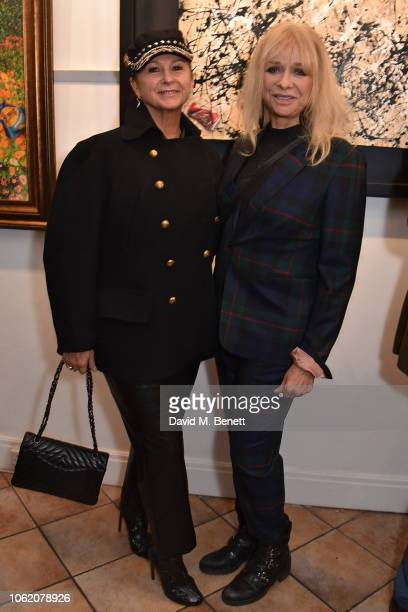 Fran Cutler and Jo Wood attend a private view of artist Paul Karslake's exhibition at The Marylebone Gallery on November 15 2018 in London England