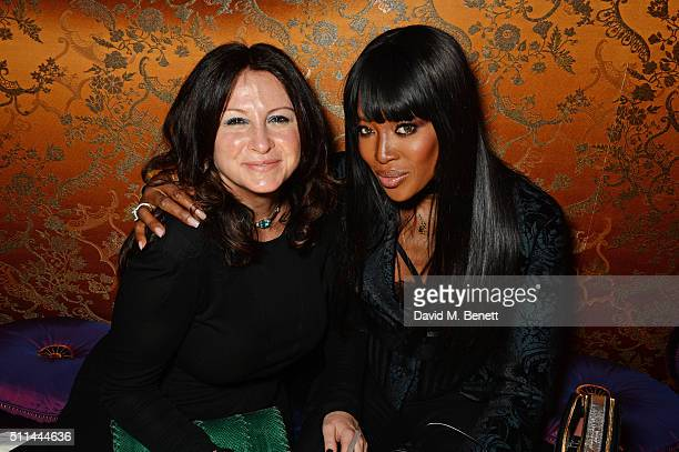 Fran Cutler and Naomi Campbell attend the Marc Jacobs Beauty dinner at the Club at Park Chinois on February 20 2016 in London England