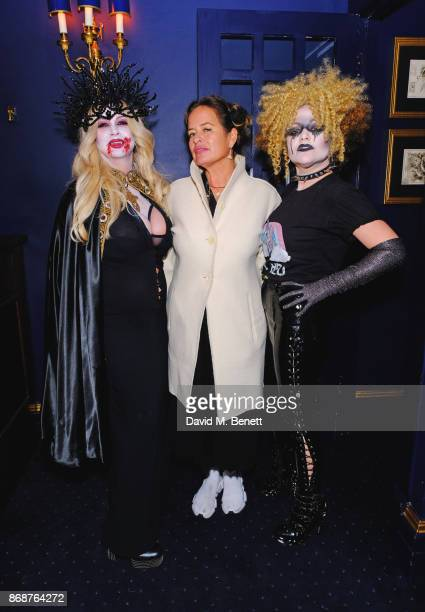 Fran Cutler Jade Jagger and Jaime Winstone attend Fran Cutler's Halloween Freak Show at Tramp on October 31 2017 in London England