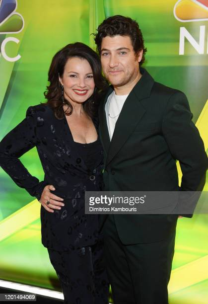 """Fran Drescher and Adam Pally from """"Indebted"""" attend the NBC Midseason New York Press Junket at Four Seasons Hotel New York on January 23, 2020 in New..."""