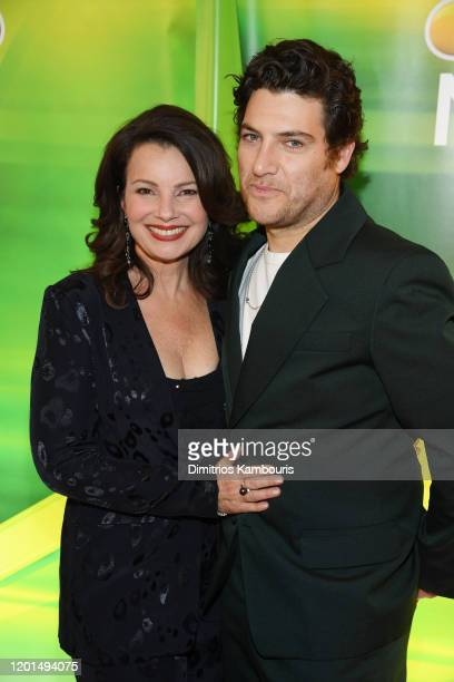 Fran Drescher and Adam Pally from Indebted attend the NBC Midseason New York Press Junket at Four Seasons Hotel New York on January 23 2020 in New...