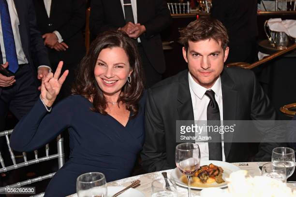 Fran Drescher and Ashton Kutcher attend Friends of The Israel Defense Forces Western Region Gala at The Beverly Hilton Hotel on November 1 2018 in...