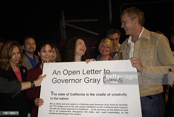 Fran Drescher and Tim Robbins during Actor Tim Robbins,Gil Cates and Arts/Community Leaders Urge Governor and Legislators Against Slashing Statewide...