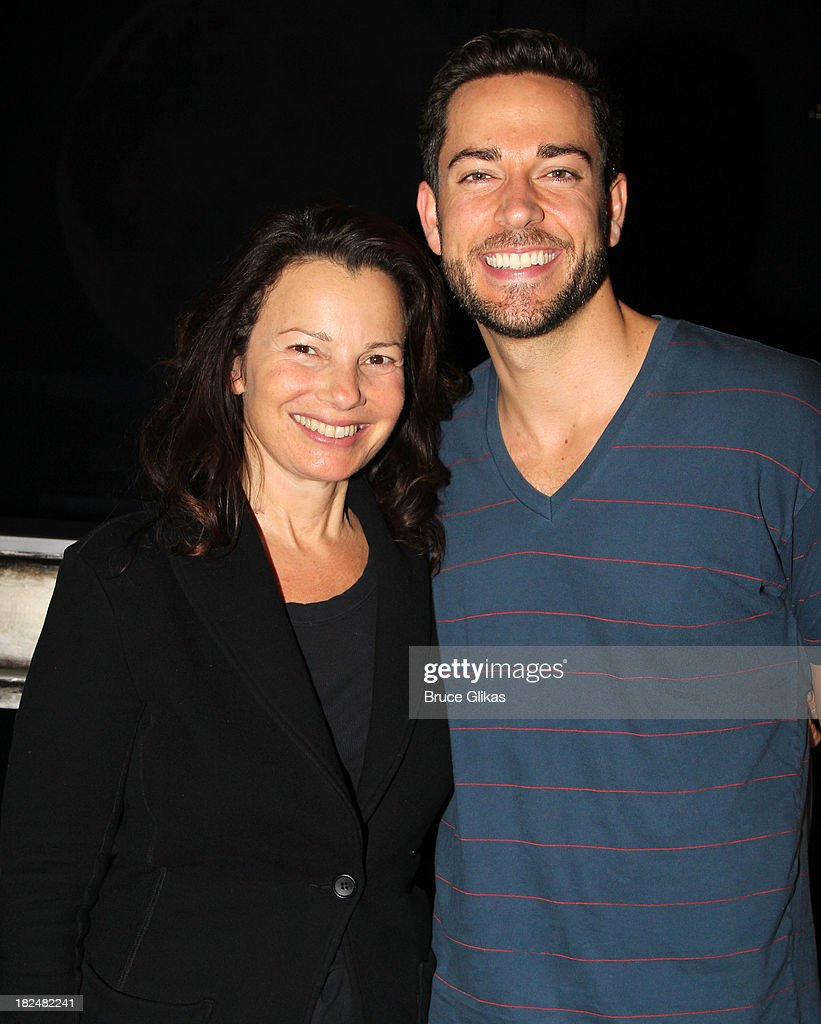 Fran Drescher and Zachary Levi pose backstage at 'First Date' on Broadway at The Lyceum Theater on September 29, 2013 in New York City.