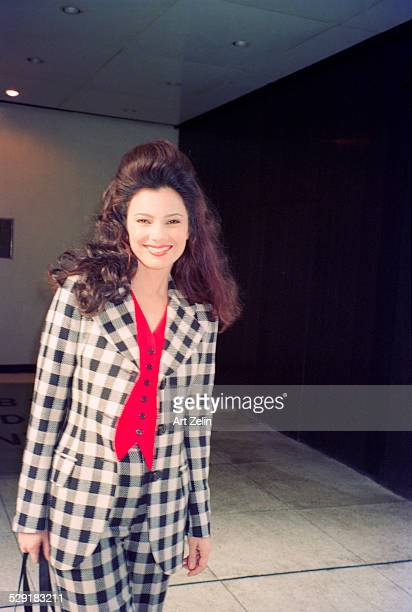 Fran Drescher wearing a checked suit; circa 1990; New York.