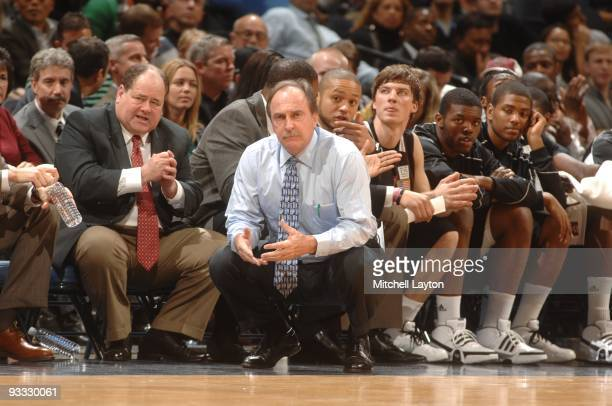 Fran Dunphy head coach of the Temple Owls looks on during a college basketball game against the Georgetown Hoyas on November 17 2009 at Verizon...