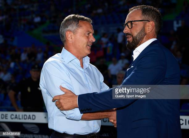 Fran Escriba manager of Villarreal and Jose Bordalas manager of Getafe greet prior to the La Liga match between Getafe and Villarreal at Coliseum...
