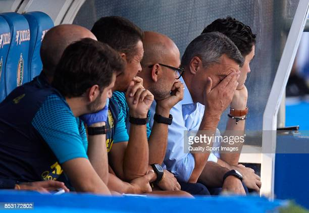 Fran Escriba Manager of Villarreal reacts during the La Liga match between Getafe and Villarreal at Coliseum Alfonso Perez on September 24 2017 in...