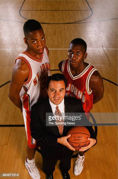 Fran Fraschilla, Felipe Lopez and Zendon Hamilton of the St John's Red Storm pose for a photo on June 17, 1996.