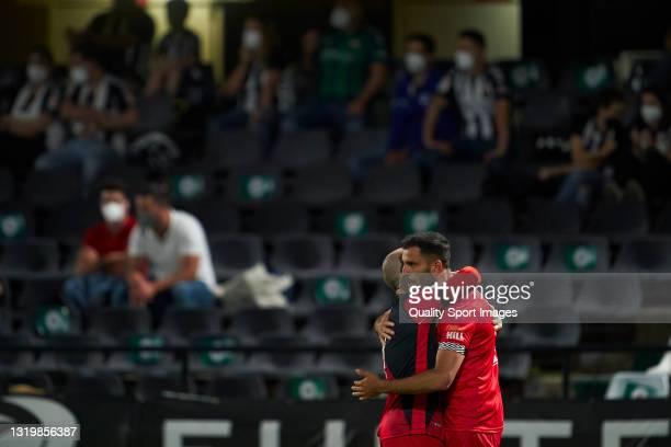 Fran Garcia of Rayo Vallecano celebrates after scoring his team's first goal during the Liga Smartbank match betwen CD Castellon and Rayo Vallecano...
