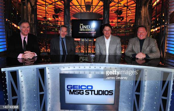 """Fran Healy, Dave Kaplan, Tony La Russa and Scott Boras attend the premiere of """"The Lineup: Hits & Errors"""" at the Geico MSG Studios on March 5, 2012..."""