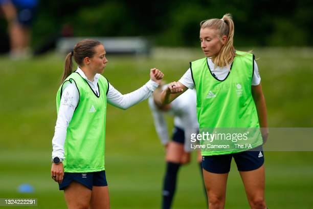 Fran Kirby and Leah Williamson of Great Britain speak during a training session at the GB Football Camp at Bisham Abbey on June 17, 2021 in Marlow,...