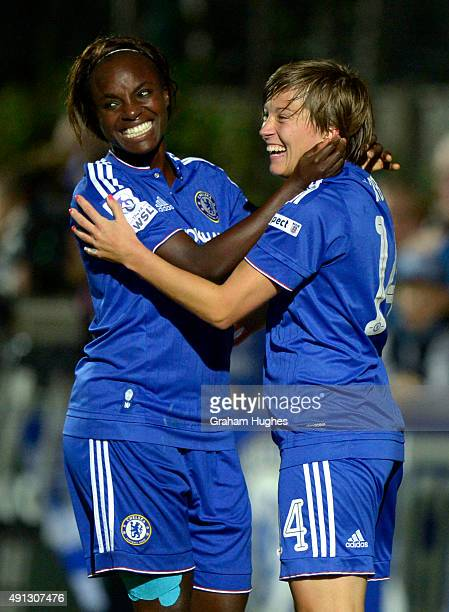 Fran Kirby celebrates with Eniola Aluko after scoring Chelsea's second goal during the FA WSL match between Chelsea Ladies FC and Sunderland AFC...