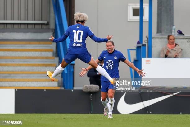 Fran Kirby of Chelsea and Ji SoYun of Chelsea celebrate after their team mate Sam Kerr scored their sides second goal during the Barclays FA Women's...
