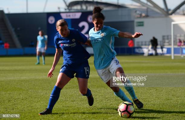 Fran Kirby of Chelsea battles for the ball during a WSL match between Chelsea Ladies and Manchester City Women at the Academy Stadium on February 24...