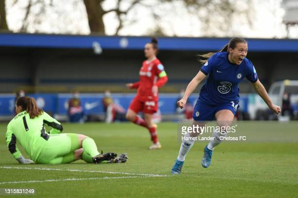 Fran Kirby of Chelsea celebrates after scoring her team's first goal during the Second Leg of the UEFA Women's Champions League Semi Final match...