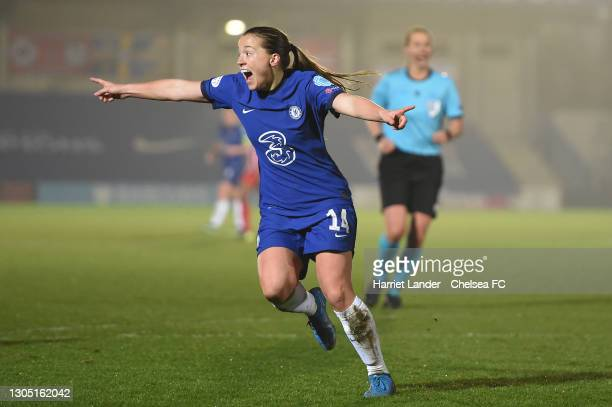 Fran Kirby of Chelsea celebrates after scoring her team's second goal during the Women's UEFA Champions League Round of 16 match between Chelsea FC...